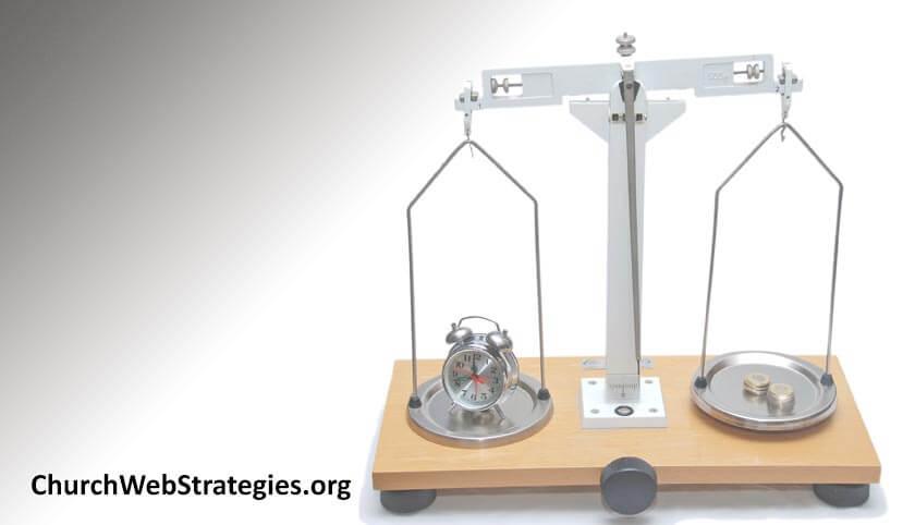 balance weighing a clock and money
