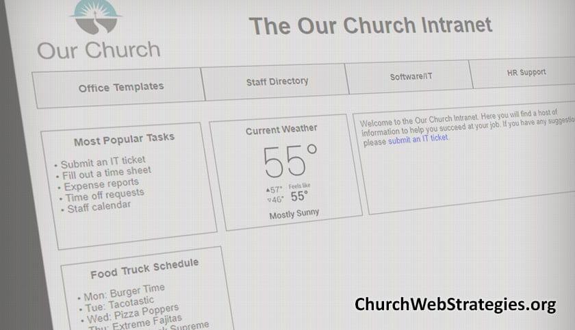 screen shot of intranet mock-up