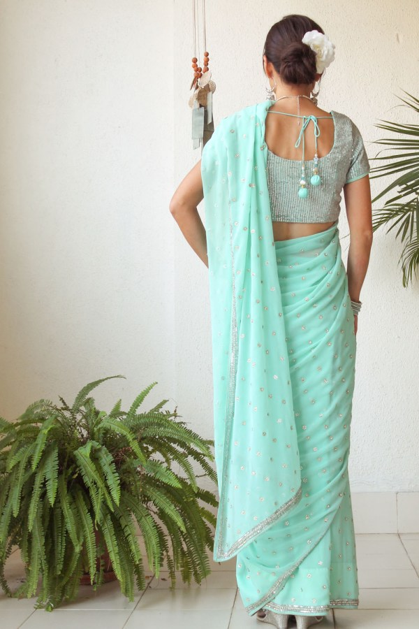 Mint Green Saree e-14