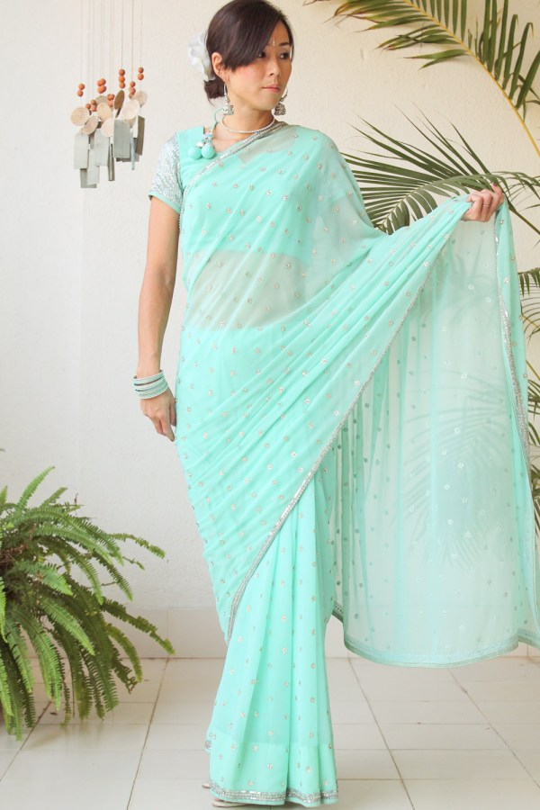 Mint Green Saree e-9