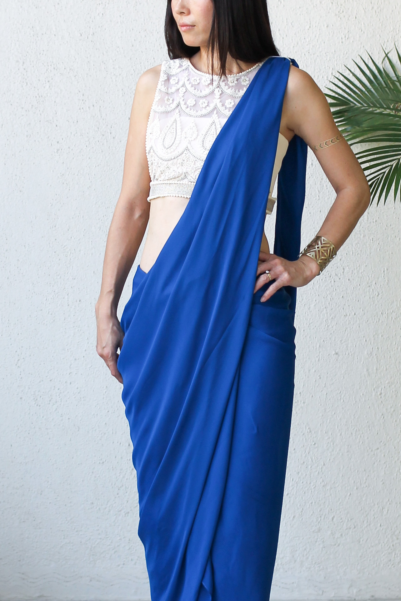 Micky Tan Blue Sari Dress-2