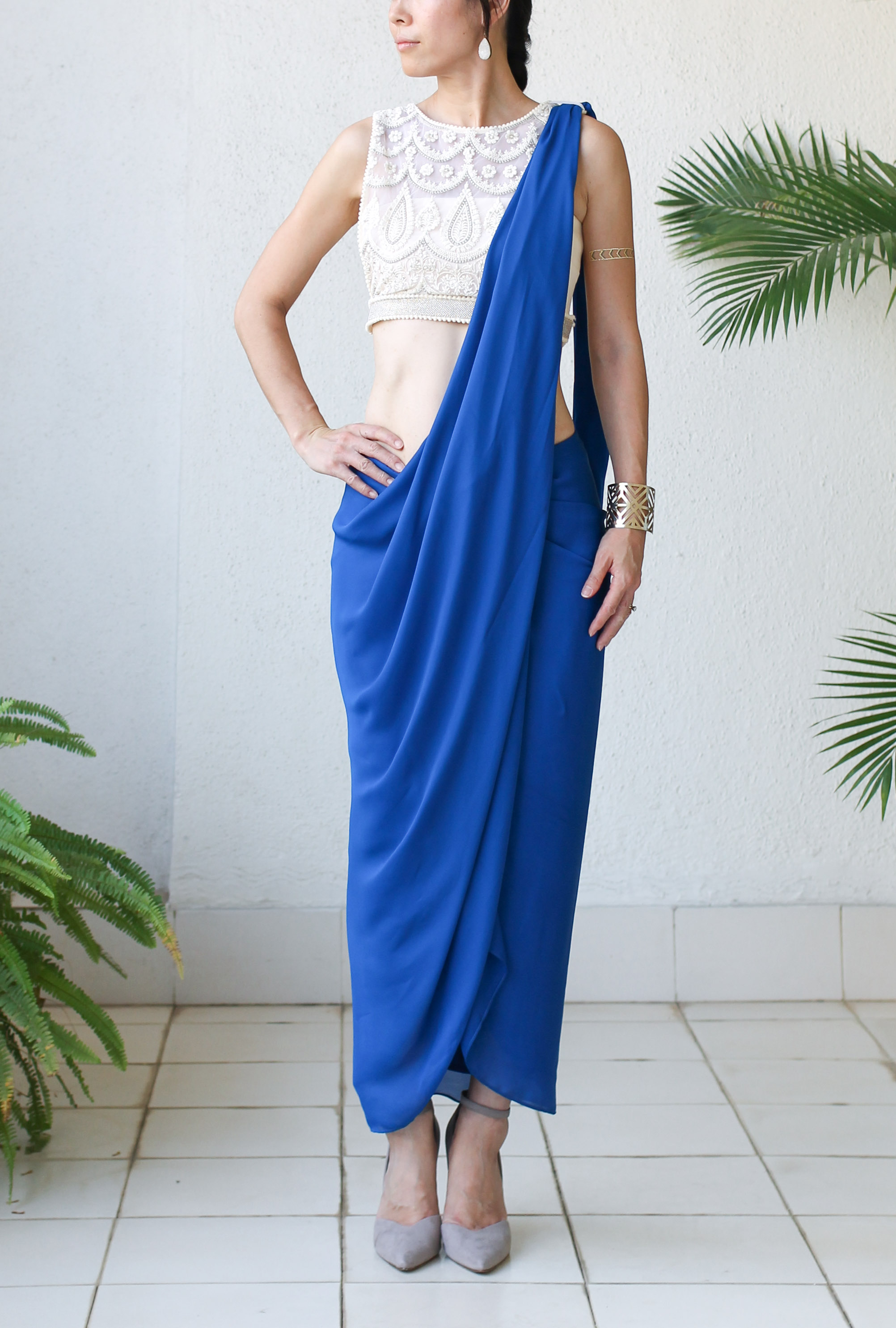 Micky Tan Blue Sari Dress-8