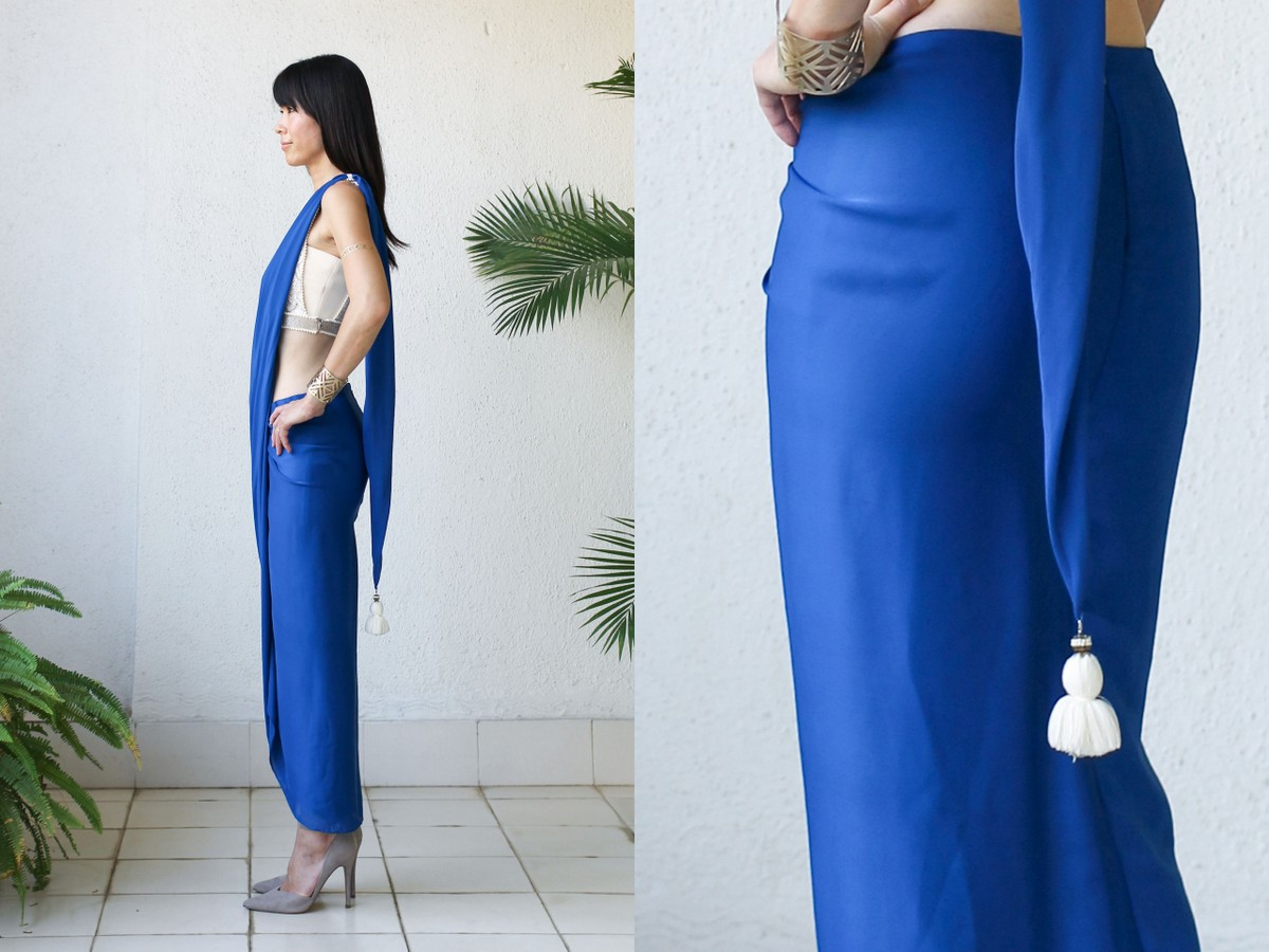 Micky Tan Blue Sari Dress