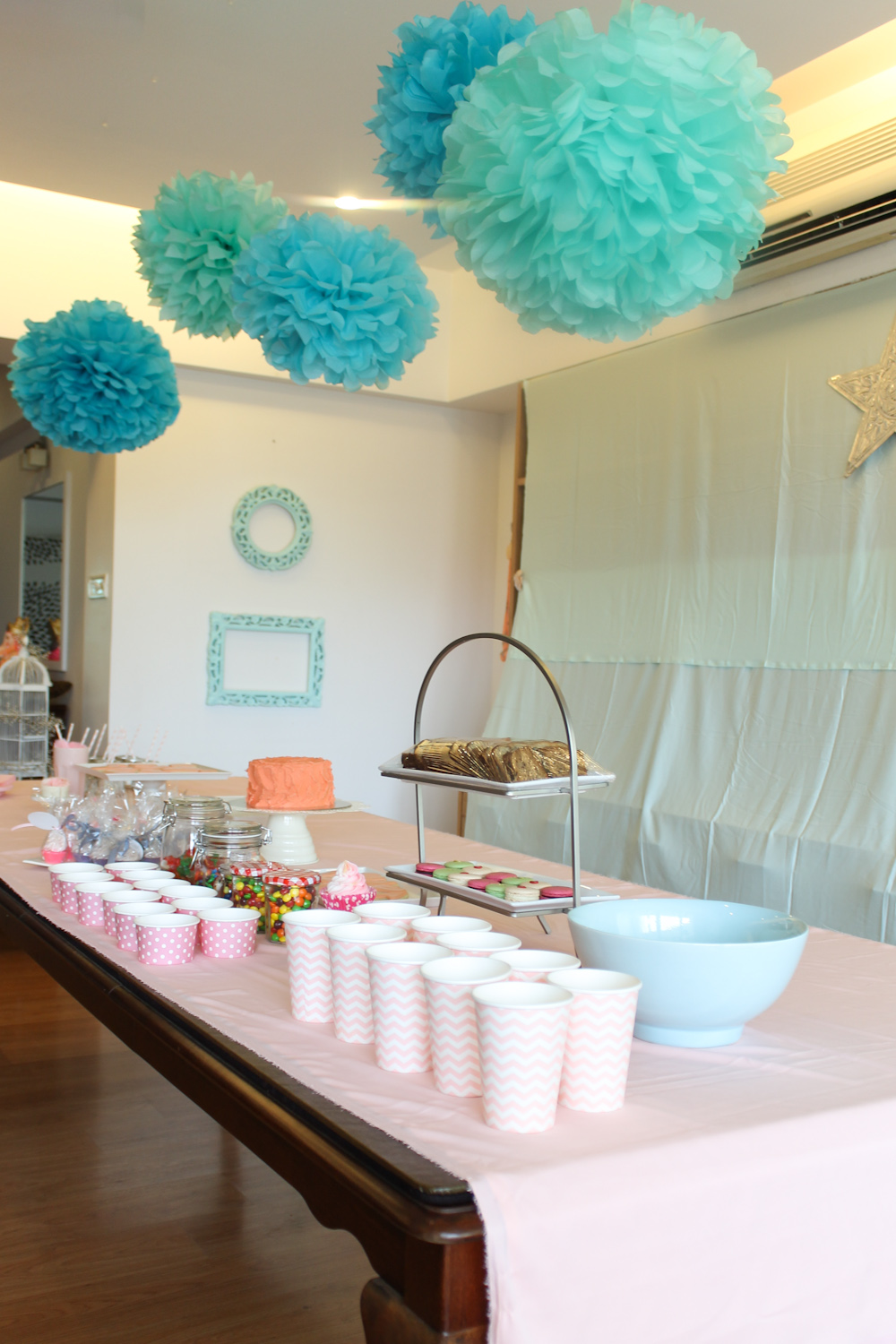Coral Pink Mint Green Party Decoration-19