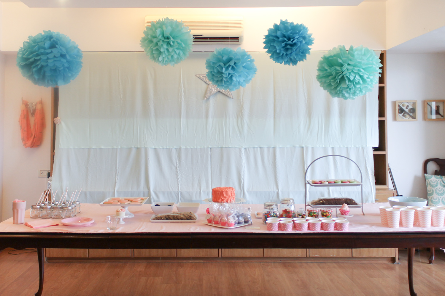 Blue Coral Pink Party Decoration 2