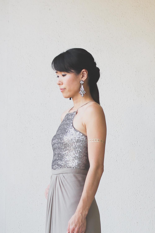 Micky Tan Grey Sequin Chiffon Dress-3