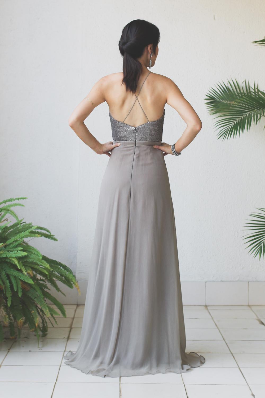 Micky Tan Grey sequin Chiffon Dress-7