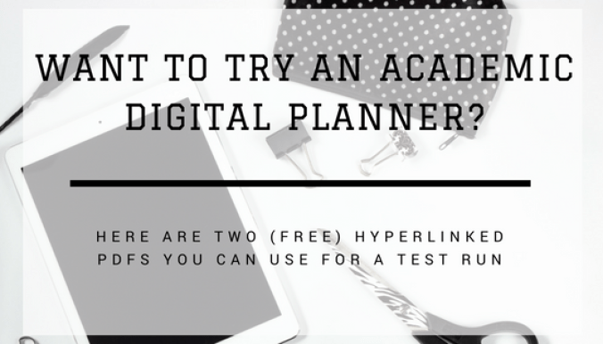 Ipad, Planner, and Scissors on White Desk with Text Overlay: Want to Try an Academic Digital Planner? Here are Two Free Hyperlinked PDFs
