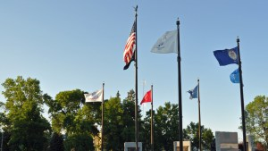 Flags at Veterans Memorial
