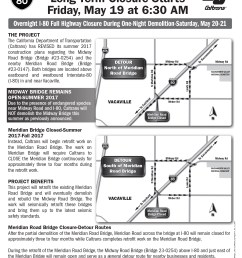 page 1 of the meridian road overcrossing closure flyer [ 1700 x 2200 Pixel ]