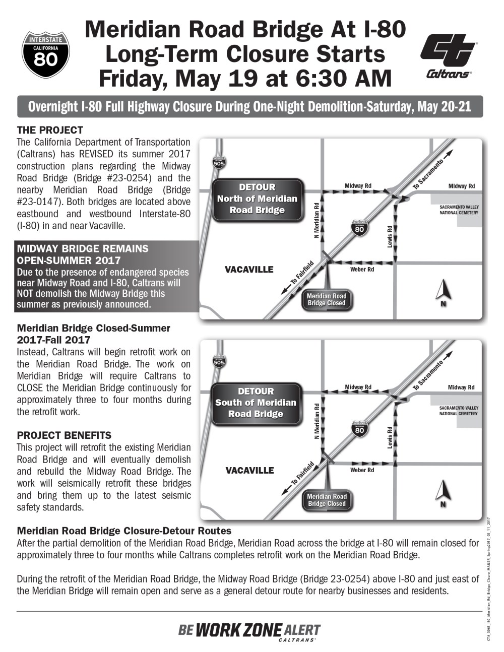 medium resolution of page 1 of the meridian road overcrossing closure flyer