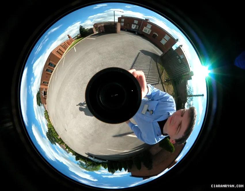 Ciaran Ryan - taking a 360 degree photo - perhaps in Yorkshire, UK, 2003