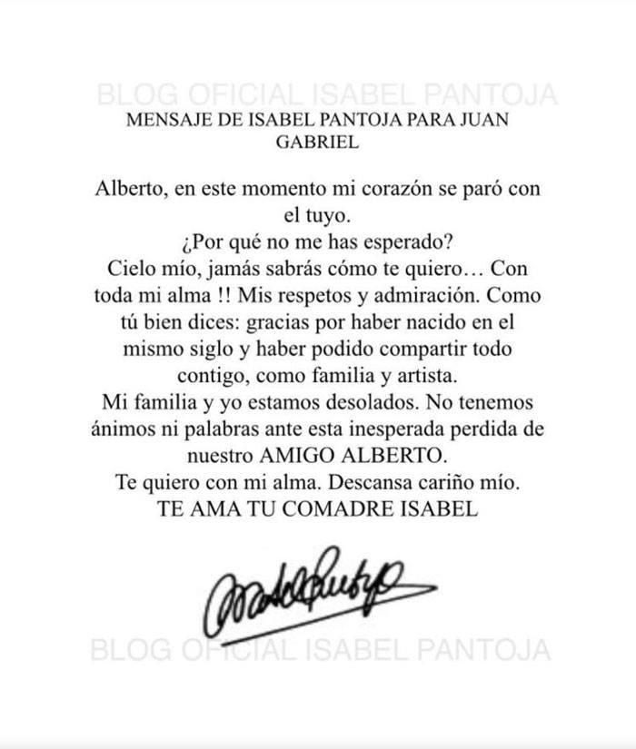 Conmovedora carta de despedida de Isabel Pantoja a su