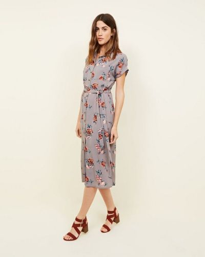 light-grey-floral-print-midi-shirt-dress