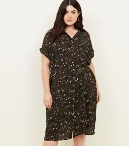 dark-green-animal-print-midi-shirt-dress