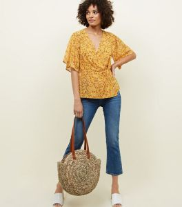 yellow-floral-twist-wrap-front-top