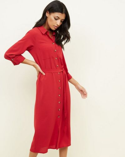 red-long-sleeve-midi-shirt-dress