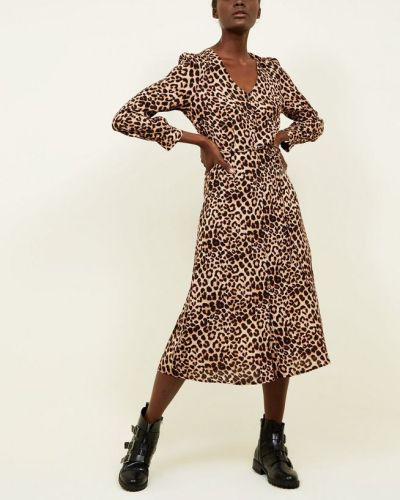 brown-leopard-print-button-front-midi-dress