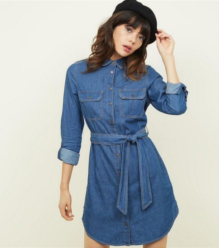 blue-tie-waist-lightweight-denim-shirt-dress