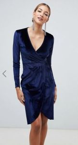 Boohoo Velvet Dress Navy