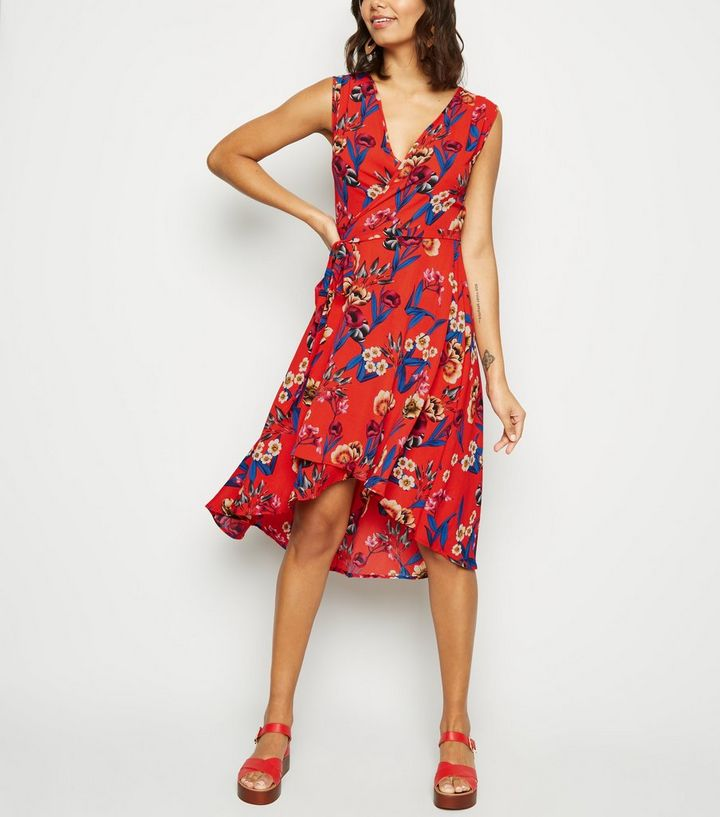 mela-red-floral-v-neck-wrap-dress