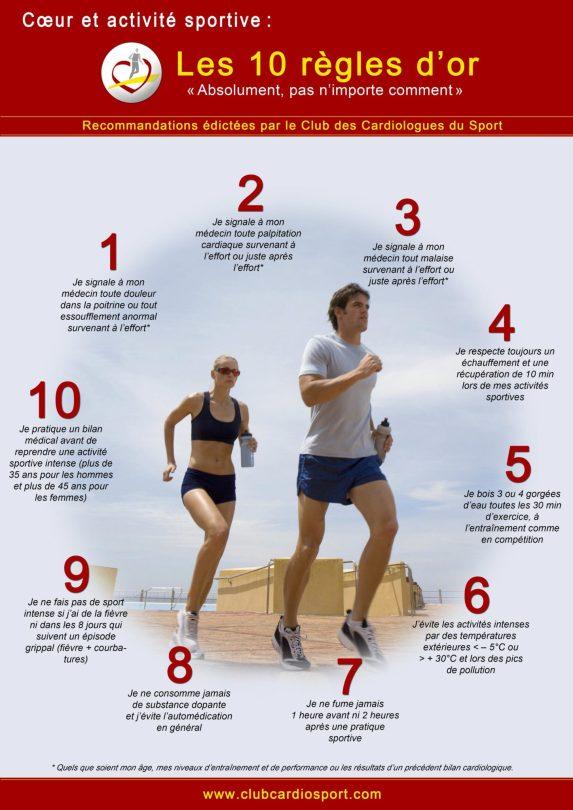 affiche les 10 regles d or cardio et sport