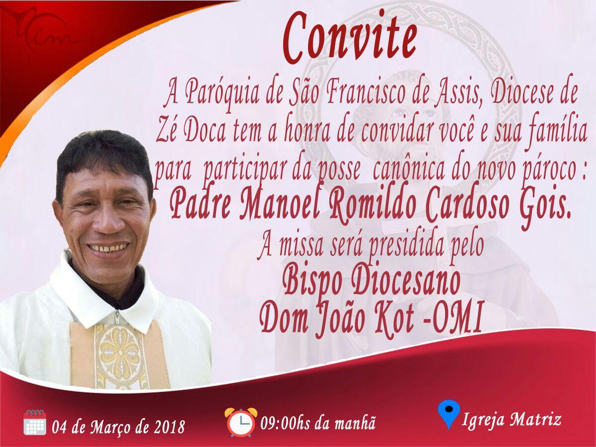 Posse de Padre Romildo acontece no próximo dia 04 em Nova Olinda do Maranhão