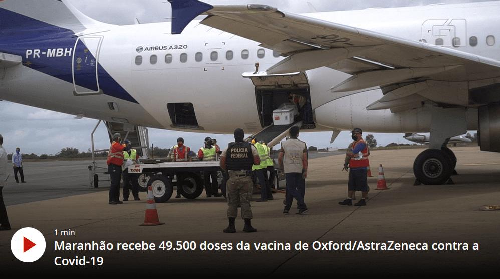 Maranhão recebe mais 49.500 doses da vacina contra a Covid-19