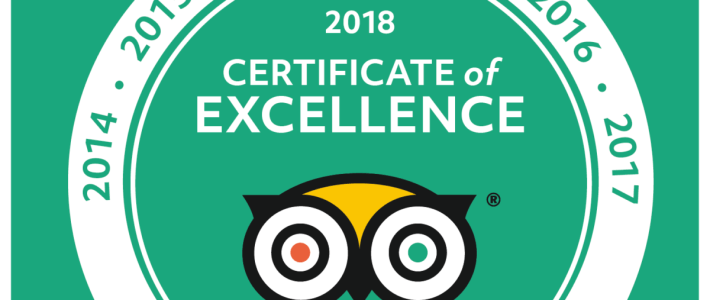 2018 Certificate of Excellence due to our guided tours