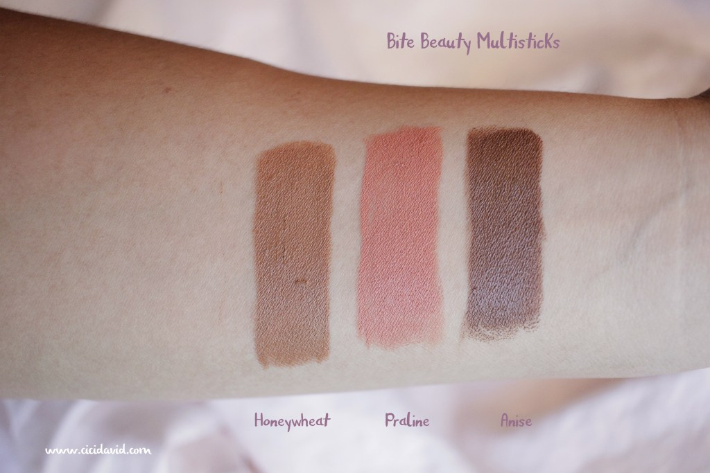 Bite Beauty Multisticks in Honeywheat, Praline, and Anise swatches