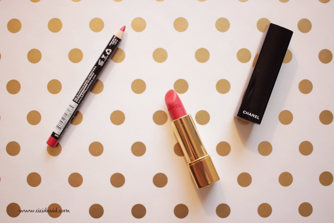 Chanel Rouge Allure Matte Lipstick in #56 Rouge Charnel and NYX Hot Red lip liner