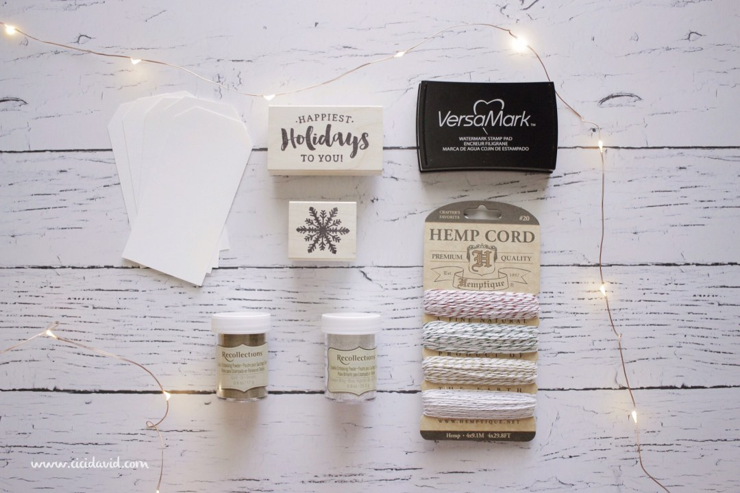 Materials for creating holiday gift tags