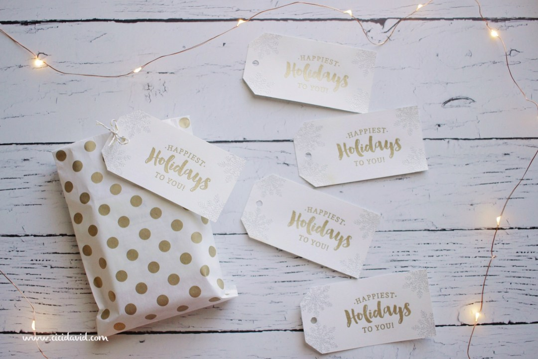DIY Christmas holiday gift tags embossing