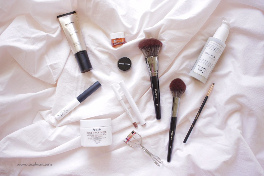 Beauty favorites featuring Morphe brushes, Dr Jart BB Cream, Fresh Rose Face Mask, Sunday Riley Ceramic Slip, Kevin Aucoin eyelash curler and Bobbi Brown eyeliner