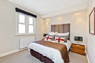 Contemporary bedroom in Clapham refurbishment