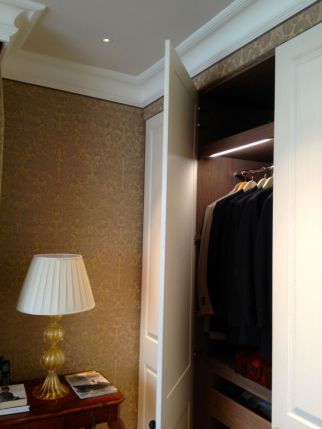 Fabric Walling around bespoke wardrobe in Knightbridge refurbishment