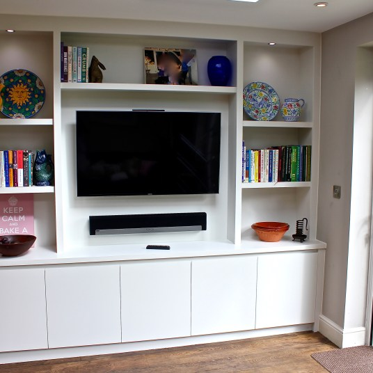Bespoke bookcase/cupboard unit built along contemporary lines