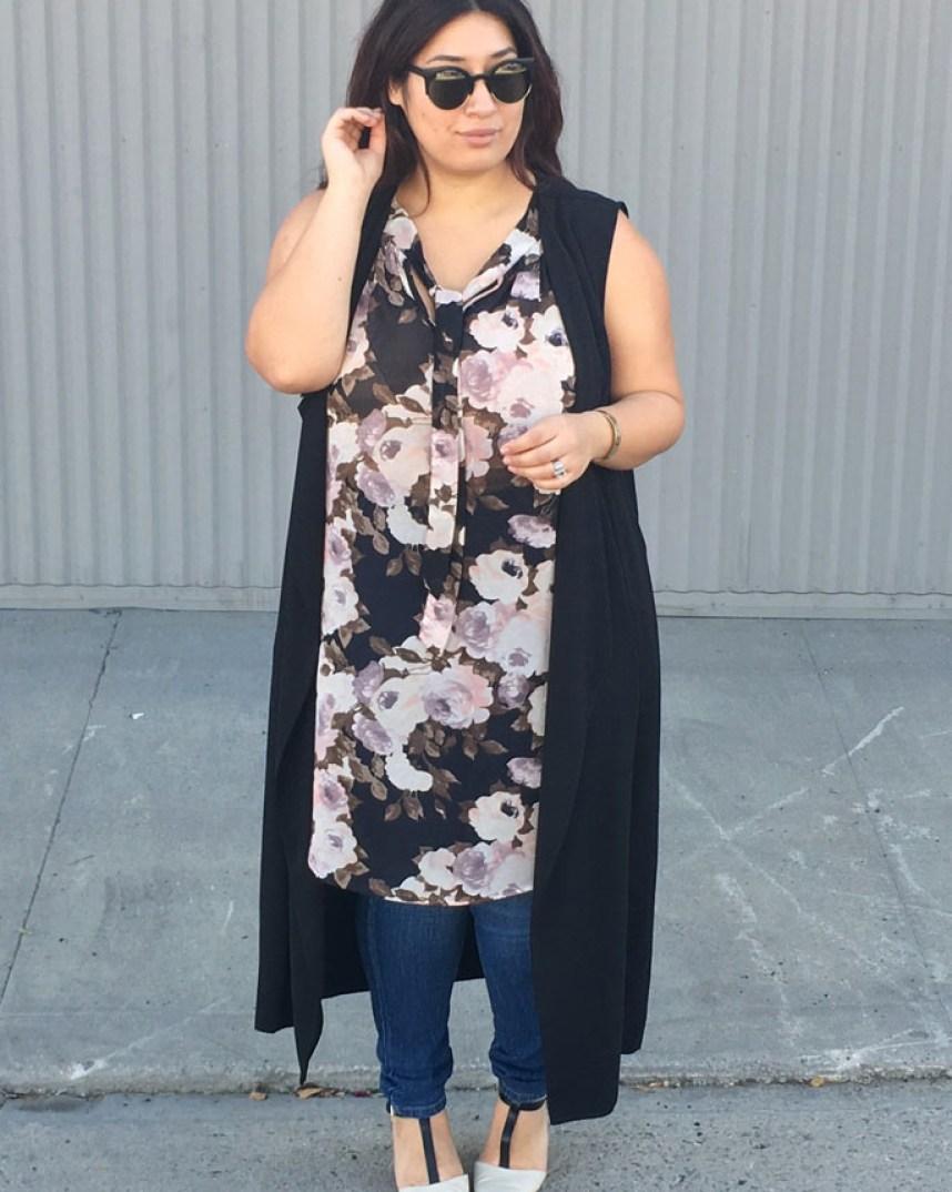 floral print, spring outfit, layers, jeans, long vest, duster vest, plus size, fashion to figure