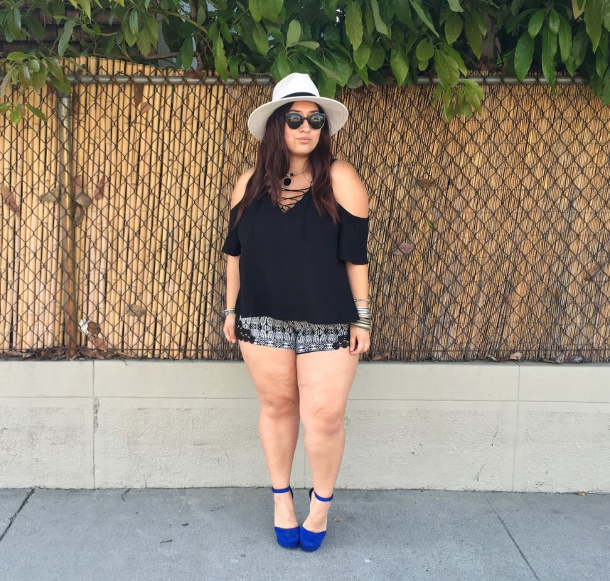 shorts, black and white, outfit, plus size, forever 21, lace up, heels, shorts