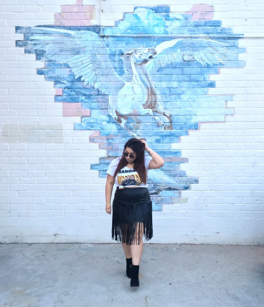 graphic tee, fringe skirt
