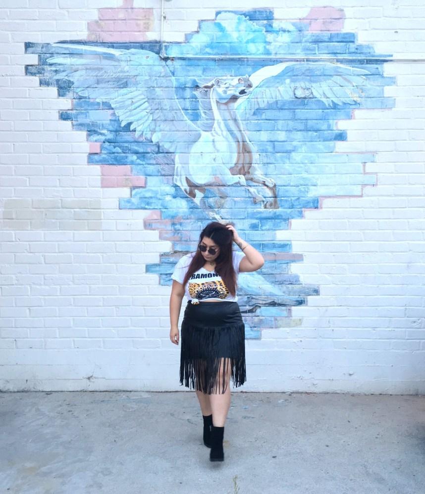 graphic tee, fringe skirt