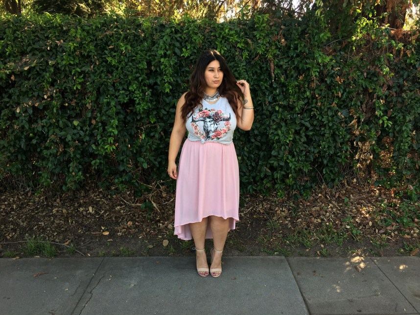 pink, skirt, graphic tee