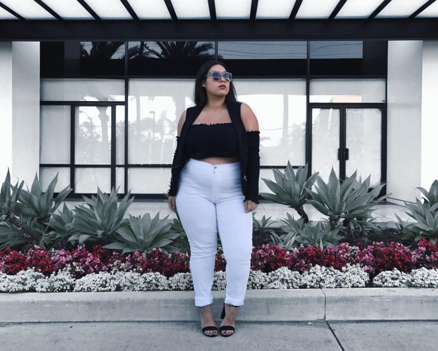 fashion nova, white jeans, cold shoulder
