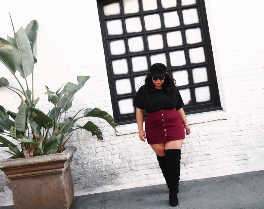 mini skirt, over the knee boots, fall