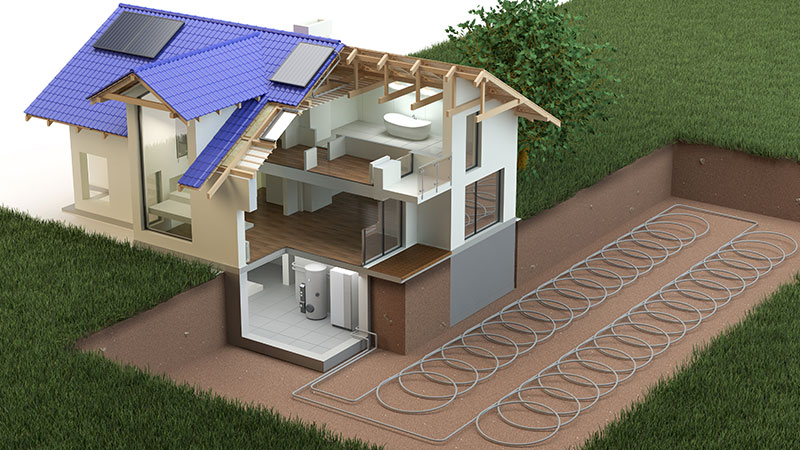 Closed loop slinky type geothermal system