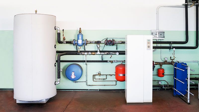 geothermal heat pump with boiler