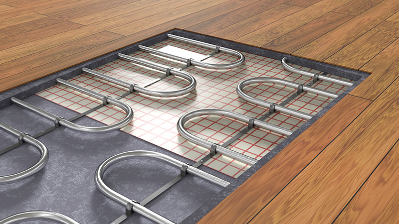 underfloor geothermal system piping