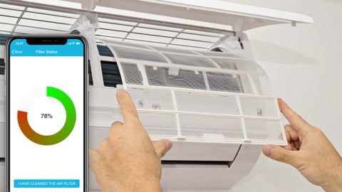 check AC air filter status cielo home app