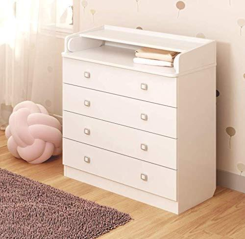 commode 4 tiroirs table langer blanche