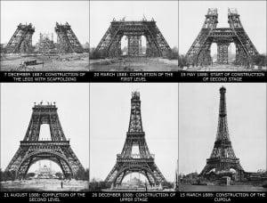 Fases en la construcción de la Torre Eiffel.